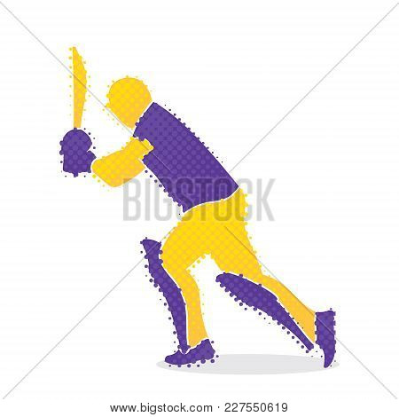 Cricket Player Hitting Shoot  And Go For Take Run  Design