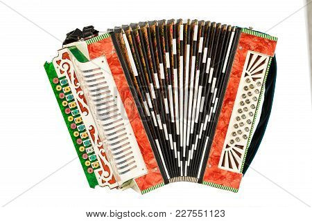 Old Accordion Isolated On White Background. Musical Instrument