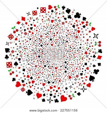 Casino Burst Sphere. Object Pattern Created From Random Casino Pictographs As Explosion Globula. Vec