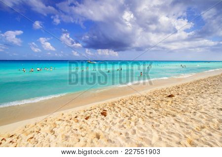 Beautiful beach at Caribbean sea in Mexico