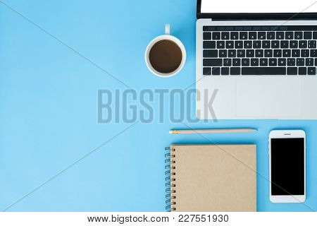 Office Desk Working Space - Flat Lay Top View Mockup Photo Of Working Space With Laptop, Smartphone,