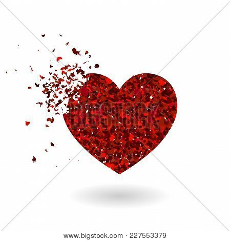 Crashed Red Glitter Heart Silhouette Isolated On White Background. Sharp Glowing Particles. Symbol O