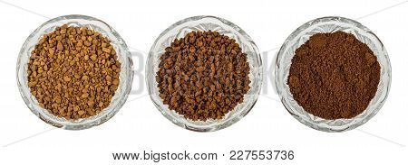 Bowls With Instant Freeze-dried, Granulated And Ground Coffee Isolated On White Background. Top View
