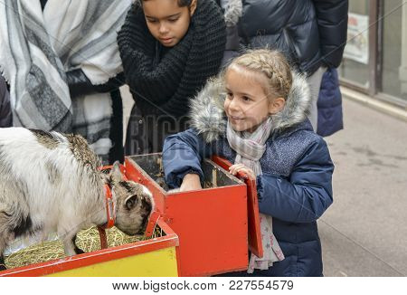 Lyon, France - December 11, 2016: Girl Feeds Young White Goat At A Fair Of Lyon, France