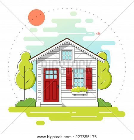 Small House And Beautiful Rural Landscape Day Scene Background In Flat Line Art Style , Vector , Ill