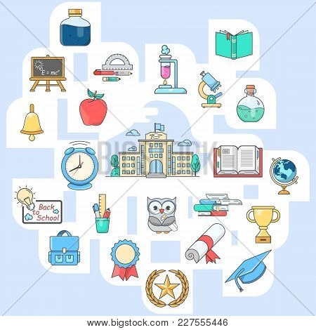 Collection Of Line Icons For Back To School