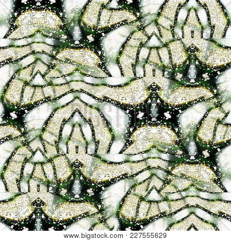 Abstract Intricate Background.  Net-like Pattern, Wavy Stripes In Green Shades With White And Black.