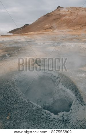 Natural Steam Rising From Volcanic Vents In The Earth At Hverir In Iceland Near Myvatn Lake
