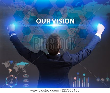 The Concept Of Business, Technology, The Internet And The Network. Young Businessman Showing Inscrip