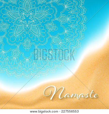 Flyer Or Brochure Template With Hand Drawn Mandala Pattern On Seashore Background. Yoga Classes Bann