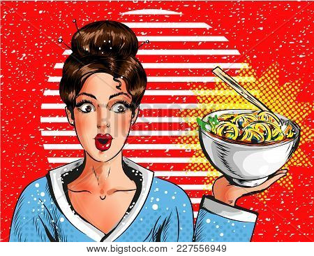 Vector Illustration Of Surprised Young Woman Holding Bowl With Pasta. Pin-up Girl Portrait Holding S