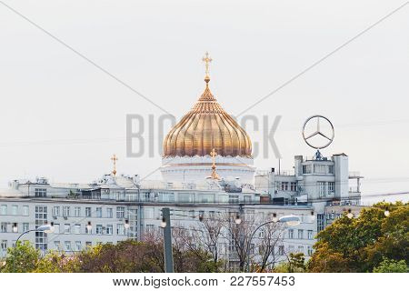 Moscow, Russia - August 19, 2007. Moscow Cityscape With Golden Dome Of Cathedral Of Christ The Savio