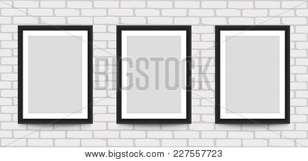Blank Picture Frame For Photographs On The Brick Wall. Stock Vector