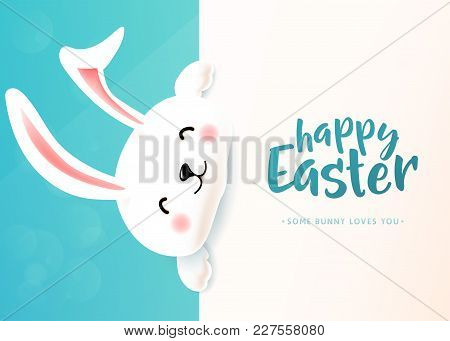 Easter Card With White Cute Funny Smiling Rabbit. Cartoon Easter Bunny Wishing Spring Holiday. Copy