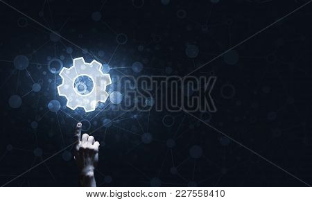 Close Of Human Hand Touching With Finger Setting Glowing Icon