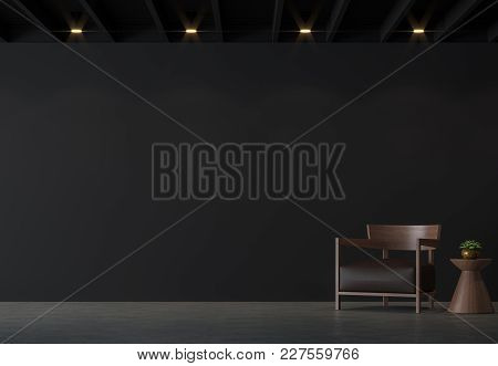Modern Loft Living Room With Black Wall 3d Rendering Image.there Are Polished Concrete Floor,black W