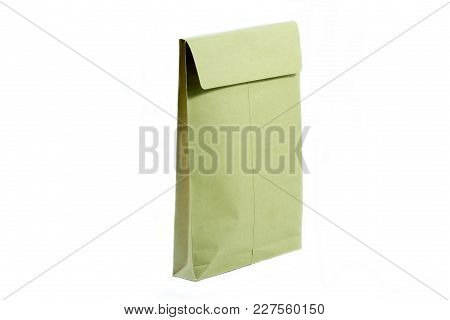 Brown Envelope For Document On Isolated White.