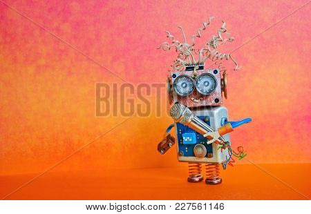 Robot Microphone Singing Song. Music Lecture Performance Poster Design. Smiley Face Cyborg Toy, Red