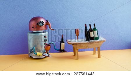 Wine Bar Party Event Concept. Funny Robot Alcoholic Drink Wine. Creative Design Copper Head Cyborg T