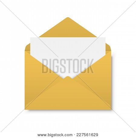 Yellow Envelope On A White Background. Vector Illustration