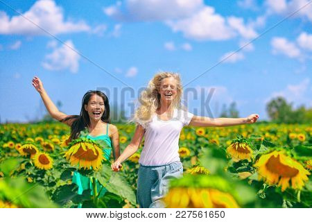 Spring happy women running through nature field of sunflowers in outdoor summertime fun. Girlfriends holding hands multiracial girls walking joyful. Asian and Caucasian cheerful women.