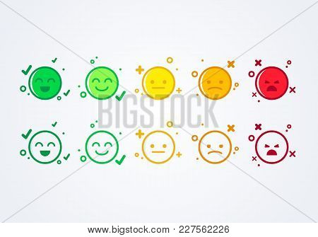 Vector Illustration User Experience Feedback Concept Different Mood Smiley Emoticons Emoji Icon Posi