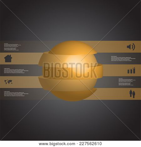 3d Illustration Infographic Template With Motif Of Sliced Ball To Three Green Parts Which Are Stacke