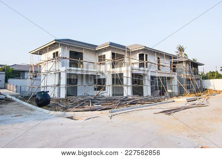 Building and Construction site of new home at Thailand