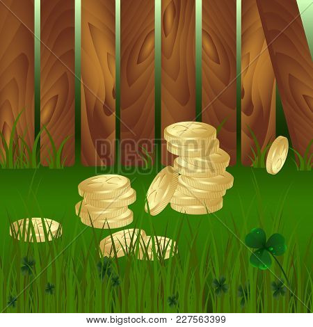 Stack Of Golden Coins On Green Grass And Clovers Leaves And Wooden Garden Fence Background. St. Patr