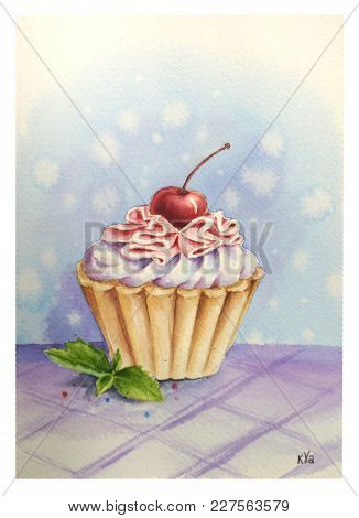 Cupcake With Cherry Icing And Maraschino Cherry Topping On Watercolor Colored Background.