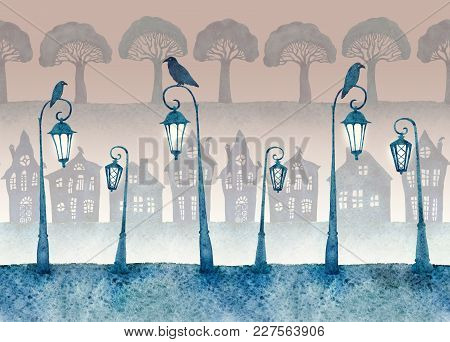 Endless Street With Lighted Lanterns, Ravens And Silhouettes Of Houses And Trees. Night In The Town.