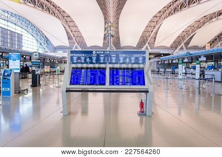 Osaka,japan-nov 30:passengers Information Board Inside The Kansai International Airport On November