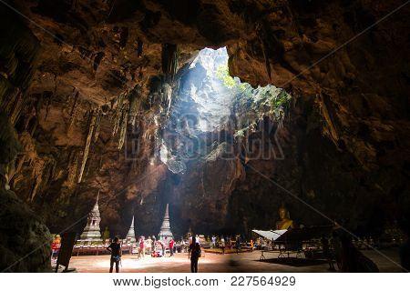 Phetchaburi Thailand :- September 3, 2016 :- Khao Luang Cave,phetchaburi, The Sunshine That Penetrat