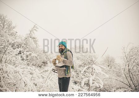 Winter Sport And Rest, Christmas. Skincare And Beard Care In Winter. Temperature, Freezing, Cold Sna