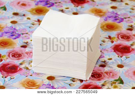 Sanitary Napkins On The Dining Table.they Wipe Their Hands After Eating.