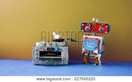Robot Chef Preparing Meal Frying Pan, Electronic Stove Oven. Creative Design Toys, Automation Roboti