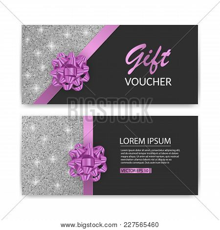 Set Of Gift Voucher Card Template, Advertising Or Sale. Template With Glitter Texture And Realistic