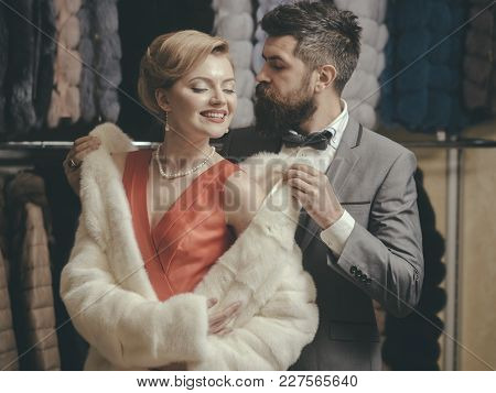 Couple In Love Among Fur Coat, Luxury. Couple In Love At Romantic Date, Valentines Day.