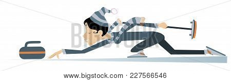 Smiling Young Woman Plays Curling Isolated Illustration. Young Woman With Curling Brush Pushes A Sto