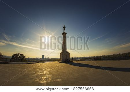 October 2017, Belgrade Serbia: Victor Monument, Known As Pobednik, Standing Pristine On Kalemegdan,