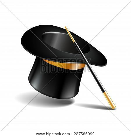 Magic Hat And Wand Isolated On White Background. Vector Illustration