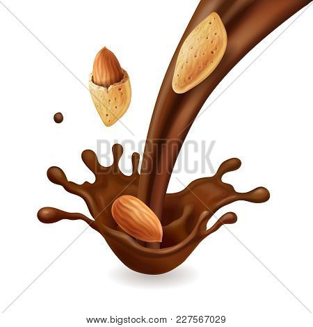 Almonds Nuts In Chocolate Flow, Vector Realistic 3d Illustration.