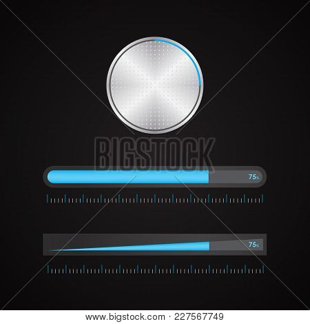 Special Metallic Volume Button With Chrome Texture, Vector Design, Eps10