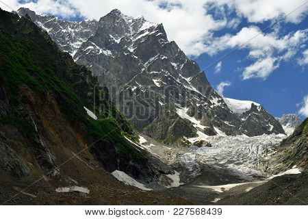 A Front Part On The Chalaadi Glacier In The Caucasus, Georgia