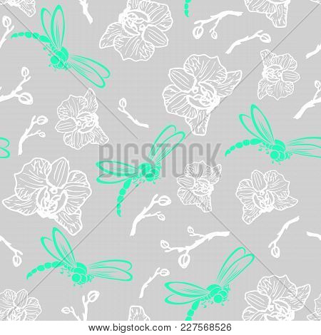 Beautiful Seamless Pattern Dragonflies And Orhids On The Gray Background.