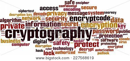 Cryptography Word Cloud Concept. Vector Illustration On White