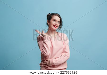 Satisfy Business Woman Standing, Smiling Isolated On Trendy Blue Studio Background. Beautiful Female