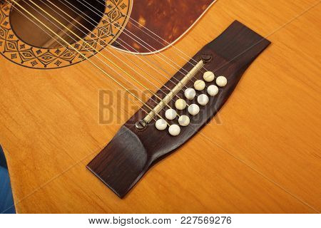 Musical Instrument - Bridge Pin Twelve-string Vintage Acoustic Guitar.