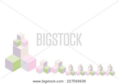 Multi-colored Cubes In Various Sizes And Colors. Isolated On White. Vector Illustration. Use As Back