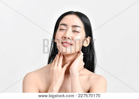 The Concept Of Healthy Beautiful Woman. Beautiful Women Keep Healthy. Beautiful Women Take Care Of S